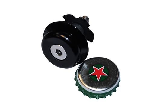 """RSP 1 1/8"""" Ahead Bottle Top Cap & Star Washer Black"""