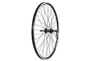 """Rear 26"""" QR Screw-on Double Wall Rim Wheel Black"""
